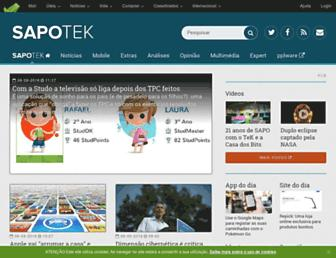 Main page screenshot of tek.sapo.pt