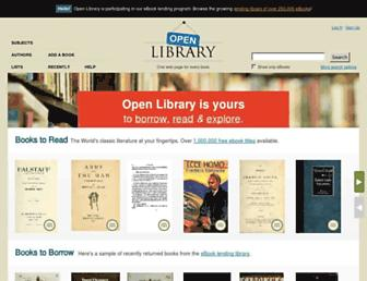 Main page screenshot of openlibrary.org