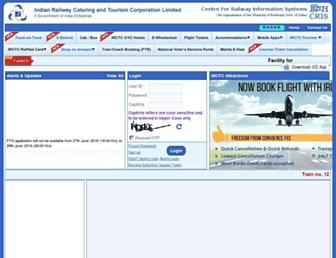 Main page screenshot of irctc.co.in