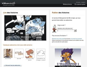 Main page screenshot of webcomics.fr