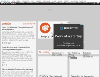 Main page screenshot of root.cz