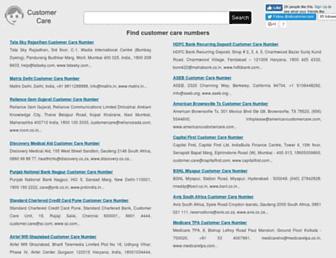 allcustomercarenumbers.net screenshot