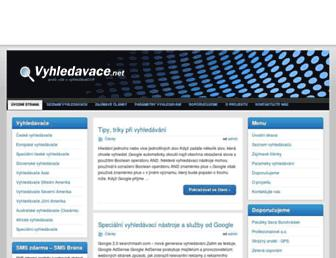 Main page screenshot of vyhledavace.net