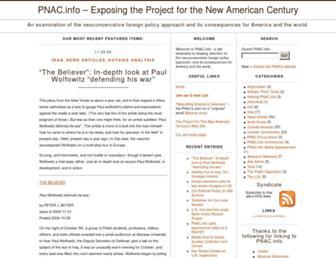 Main page screenshot of pnac.info
