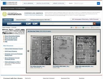 Main page screenshot of chroniclingamerica.loc.gov