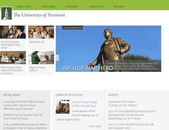 Main page screenshot of uvm.edu