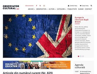 Main page screenshot of observatorcultural.ro
