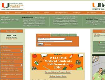 Main page screenshot of calder.med.miami.edu