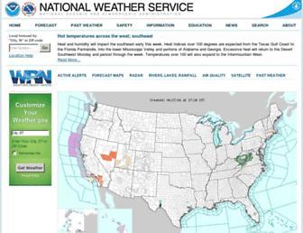 Main page screenshot of weather.gov