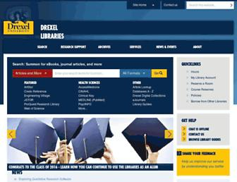 Main page screenshot of library.drexel.edu