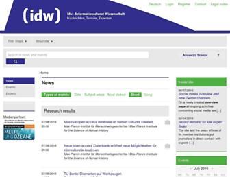 Main page screenshot of idw-online.de