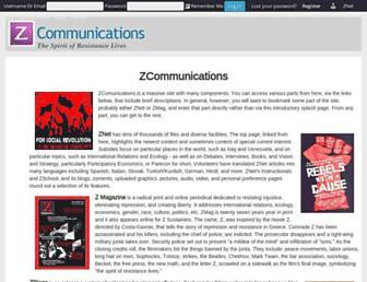 Main page screenshot of zcommunications.org