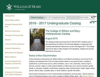 catalog.wm.edu screenshot