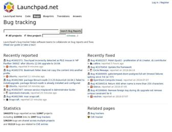 Main page screenshot of bugs.launchpad.net