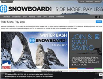 Main page screenshot of snowboardclub.co.uk