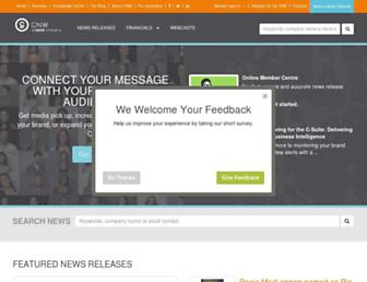 Main page screenshot of cnw.ca