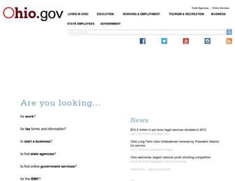 Main page screenshot of ohio.gov
