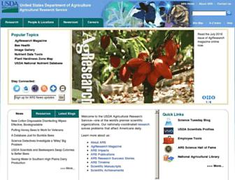 Main page screenshot of ars.usda.gov