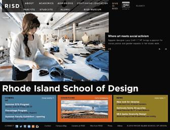 Main page screenshot of risd.edu