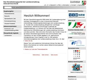 Main page screenshot of service.nrw.de