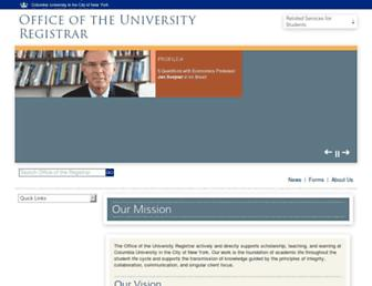 registrar.columbia.edu screenshot