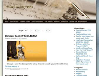 Main page screenshot of onlinewritingjobs.net