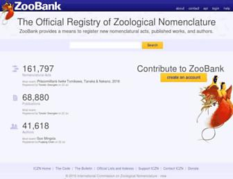 Main page screenshot of zoobank.org