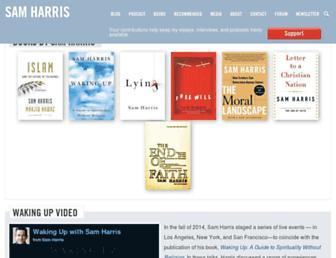 Main page screenshot of samharris.org