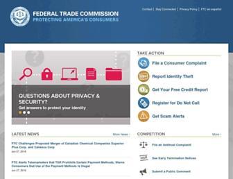 Main page screenshot of ftc.gov
