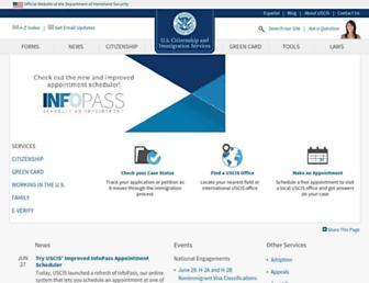 Main page screenshot of uscis.gov