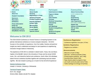 Main page screenshot of chi2012.acm.org