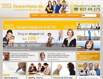 Main page screenshot of startsiden.eksperthjelp.no
