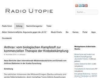 Main page screenshot of radio-utopie.de