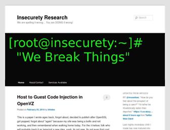 Main page screenshot of insecurety.net