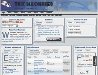 Main page screenshot of tuxmachines.org