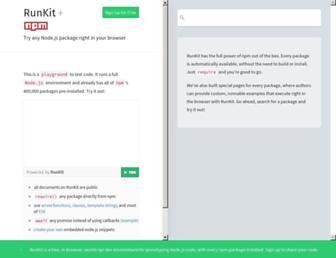 npm.runkit.com screenshot