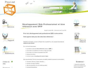 Main page screenshot of pyrat.net