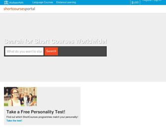 Main page screenshot of shortcoursesportal.eu