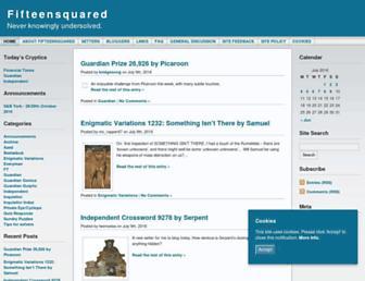 Main page screenshot of fifteensquared.net