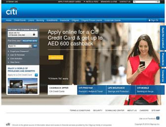 citibank.ae screenshot