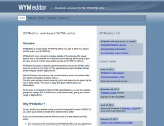 Main page screenshot of wymeditor.org