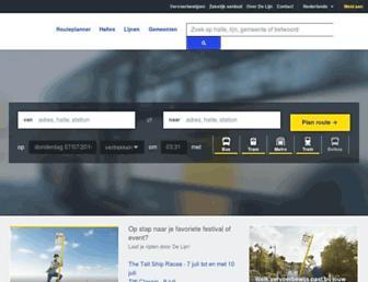 Main page screenshot of delijn.be