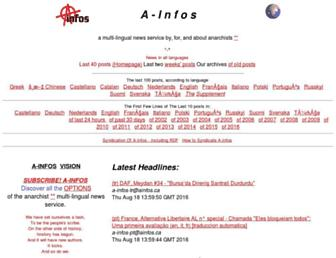 Main page screenshot of ainfos.ca