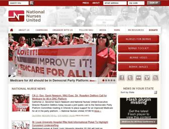 Main page screenshot of nationalnursesunited.org