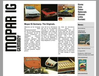 Main page screenshot of mopar.de