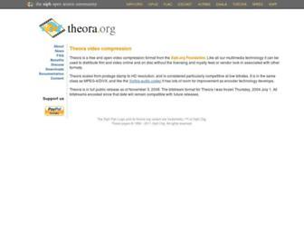 Main page screenshot of theora.org