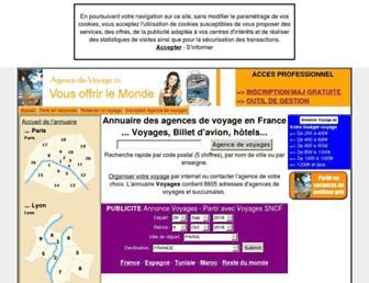 Main page screenshot of agence-de-voyage.tv