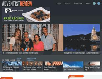 Main page screenshot of adventistreview.org