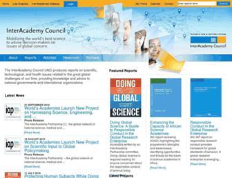 Main page screenshot of interacademycouncil.net