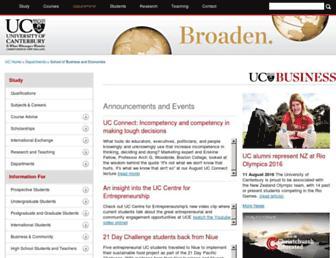 Main page screenshot of bsec.canterbury.ac.nz